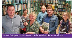 Charity Bookshop: James Cooper hands over the bookshop keys to Nicola